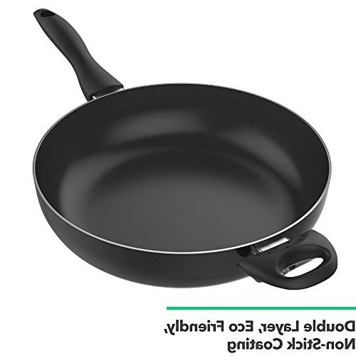 Vremi Saute Covered Tempered Glass Big for Stir Fry or Non Saute Frying Large - Black