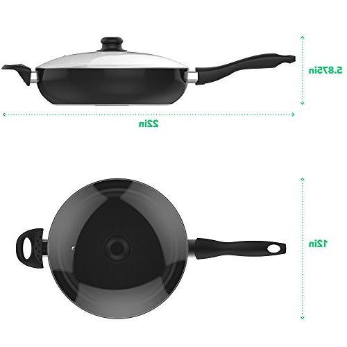 Vremi Saute Pan Covered Tempered Glass Lid - Big 5 for Fry or as Saucepan Non Frying Pan Large Black