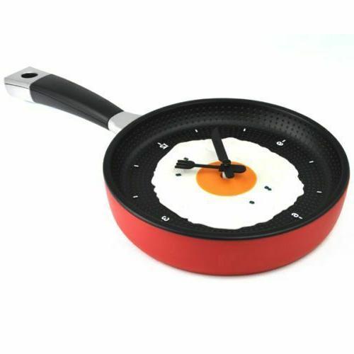 Plastic Modern Digital Wall Clock Frying Pan Hanging Watch H