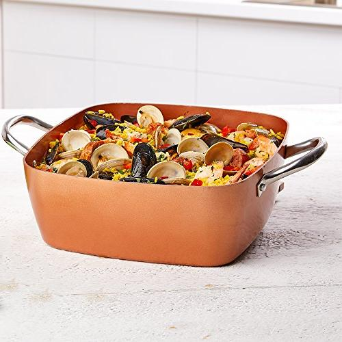 Copper Inch Casserole 2 Square Pan With – Square Pan Multi Use Stainless Steel