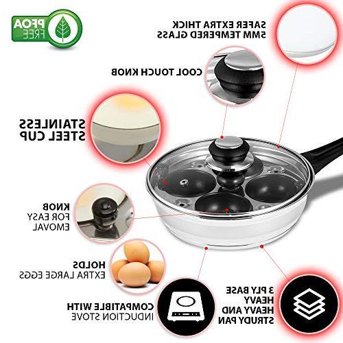 Eggssentials Poached Maker - Egg Poaching Cups Steel Egg FDA Food Grade Safe PFOA Bonus Spatula