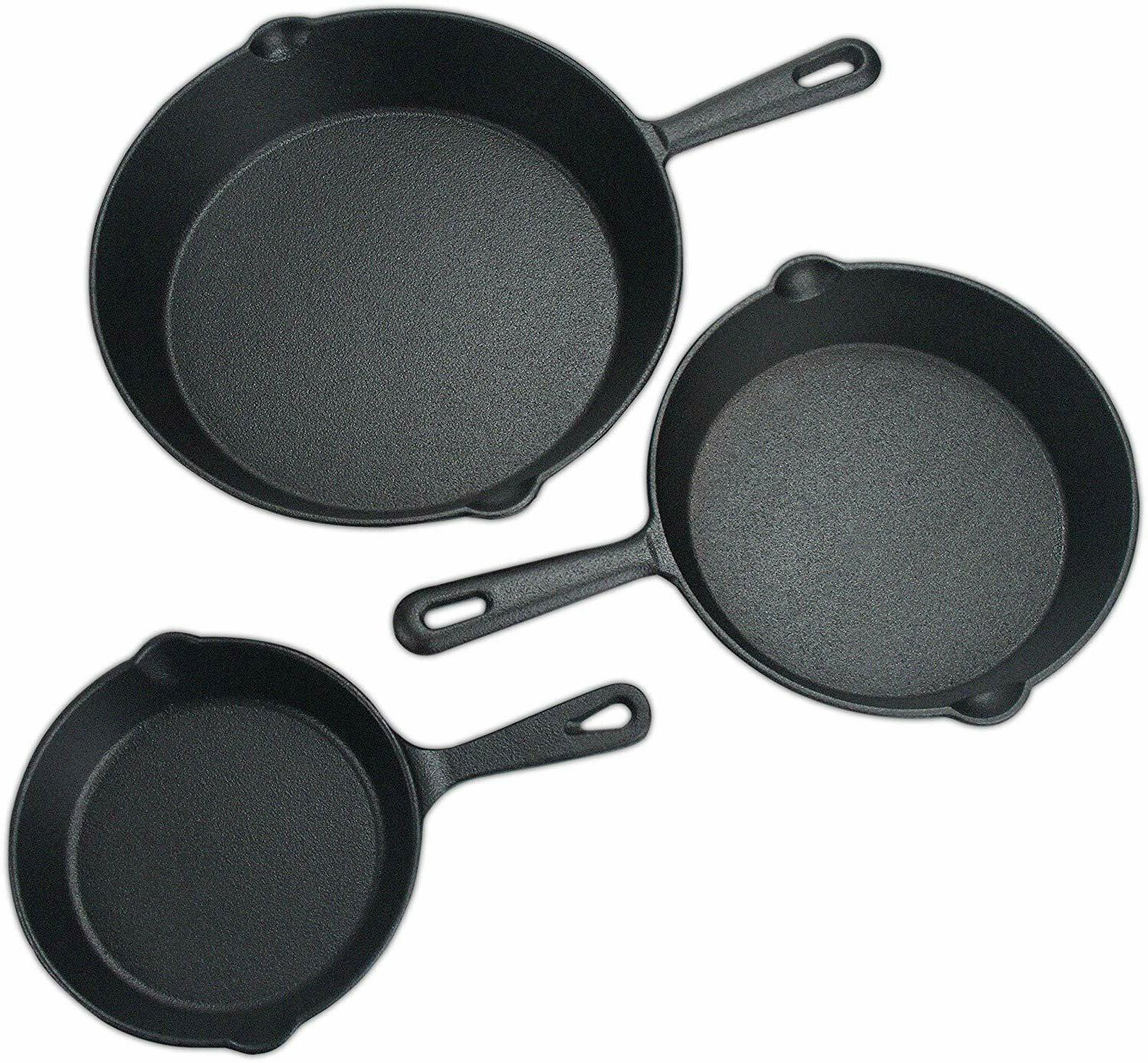 "Pre Seasoned Cast Iron Skillet Set 3 Pieces 6"", 8"" & 10"" by"