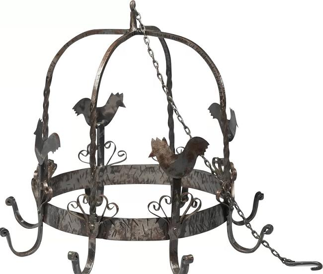 Rooster Pot Rack Rustic Farmhouse Kitchen Low Ceiling Cookin