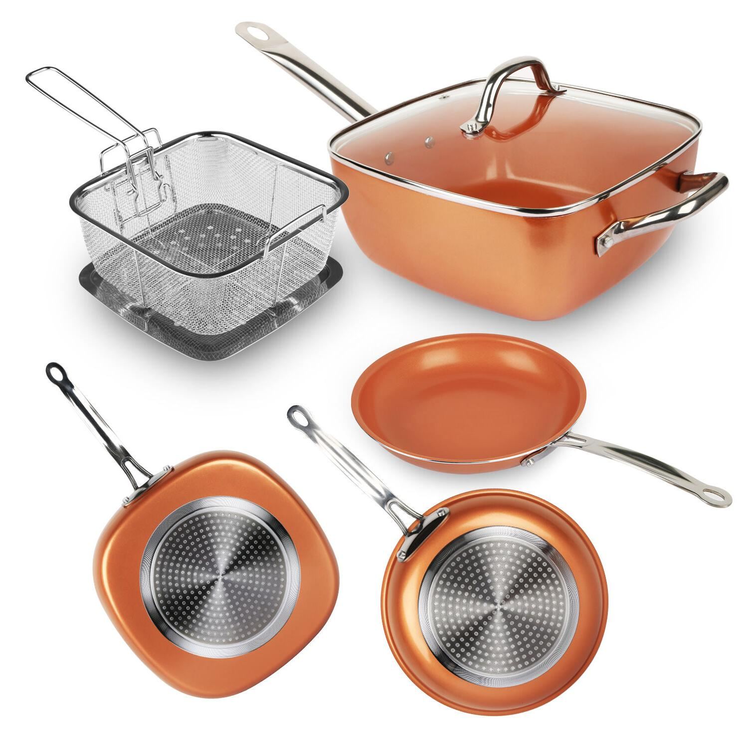 Round / Square Copper Frying Non-stick Pan Chef Glass Lid Fr