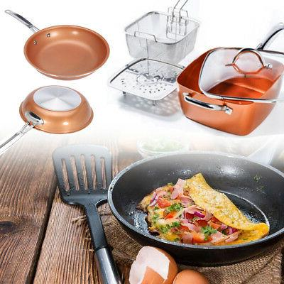 Round Square Copper Frying Pan Induction Chef Glass Lid Fry