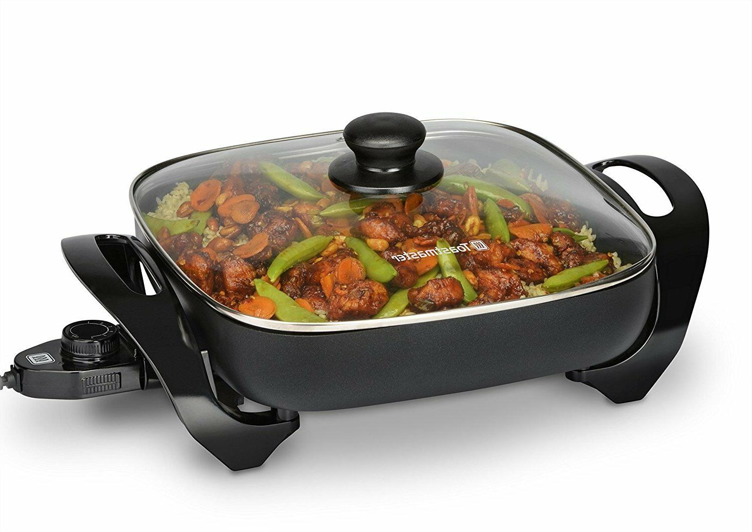 11 electric skillet nonstick frying pan tempered