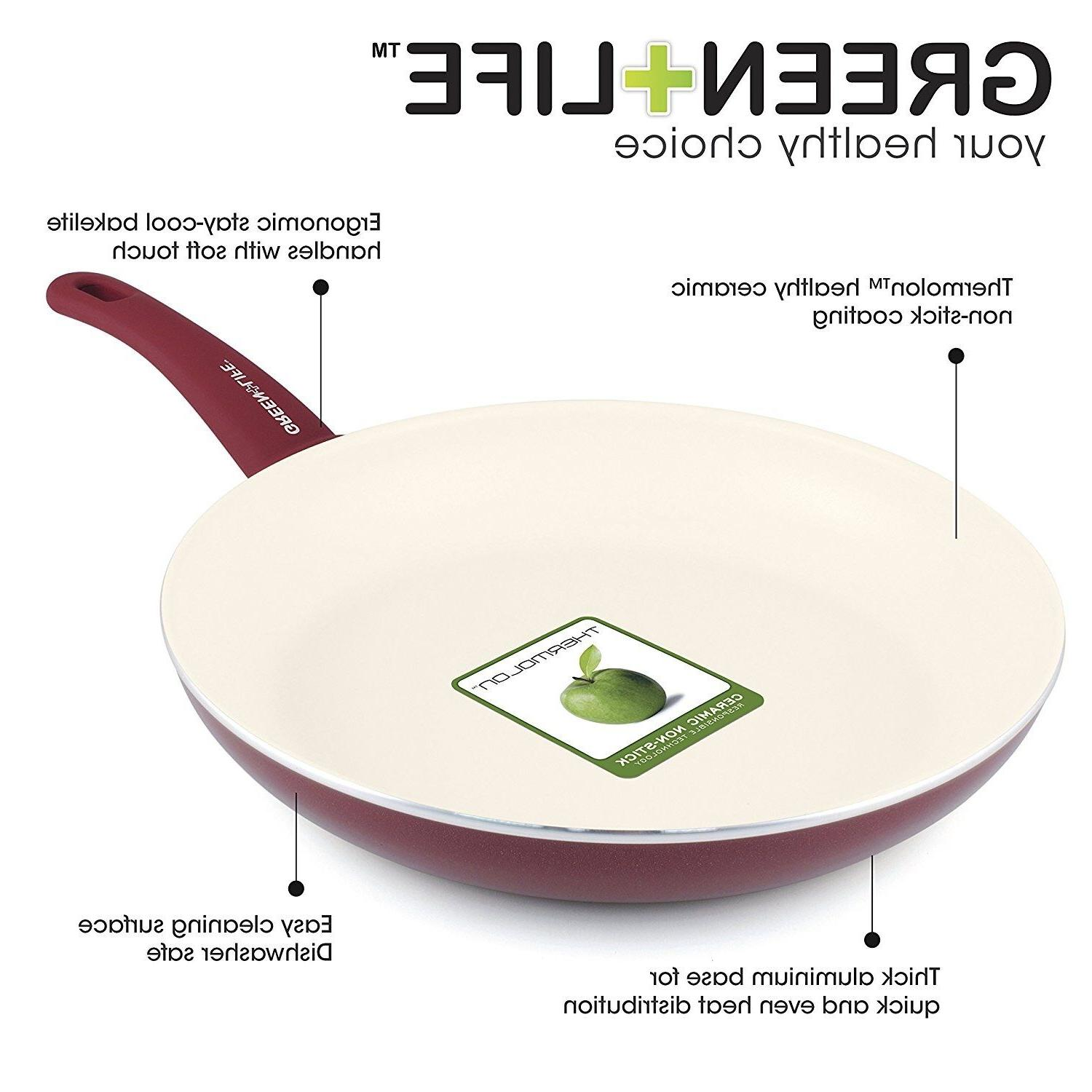 GreenLife Grip Ceramic Non-Stick and Open Set Red