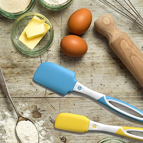 Vremi 4 Piece Spatula Set Silicone Rubber Baking Spatulas BPA Free - Turner for Icing Frosting Resistant up to