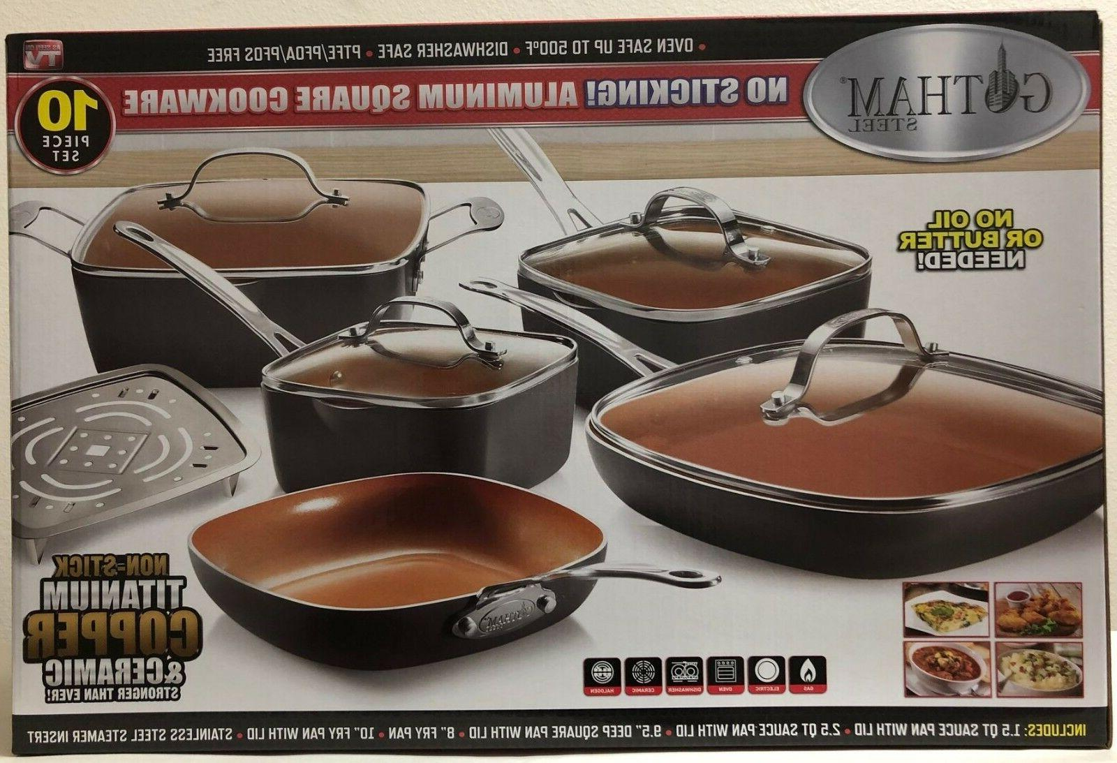 square 10 piece nonstick copper frying pan