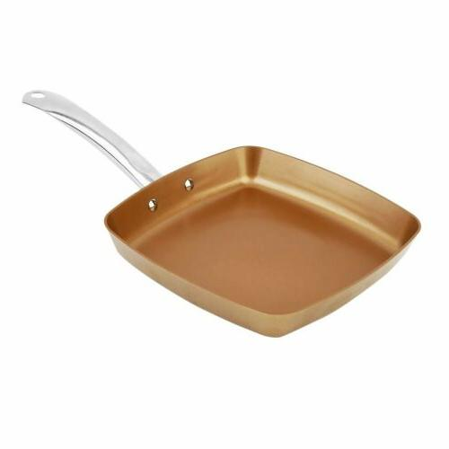 square non stick copper coating frying pan