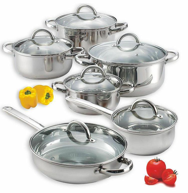stainless steel cookware set pots pans glass