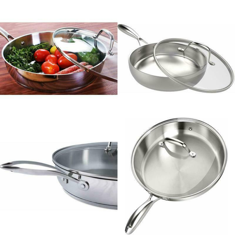 stainless steel skillet with lid 12 inch