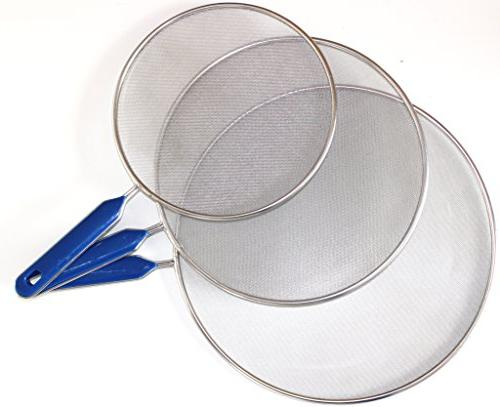 "Grease Frying - Stainless Steel Guard Set of 3 8"", inch - Super Mesh Hot Stop"