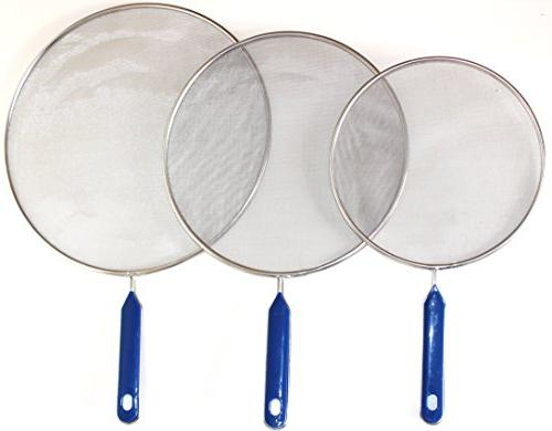 "Grease Splatter For Frying Pan Stainless Steel Guard Set of 8"", and inch - Super Mesh Iron Hot Oil Shield Stop Prime"