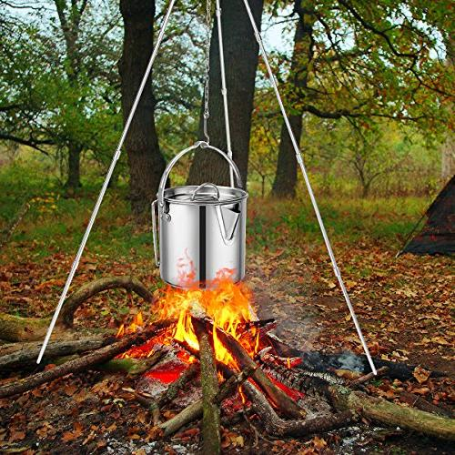Evaliana Teakettles Picnic Camping Kettle Skillet Hiking Foldable Handle