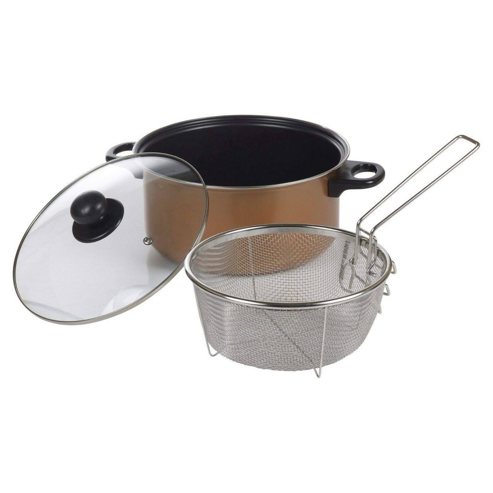 Stove Top Deep Pan Fat Copper Look Basket Clear Lid