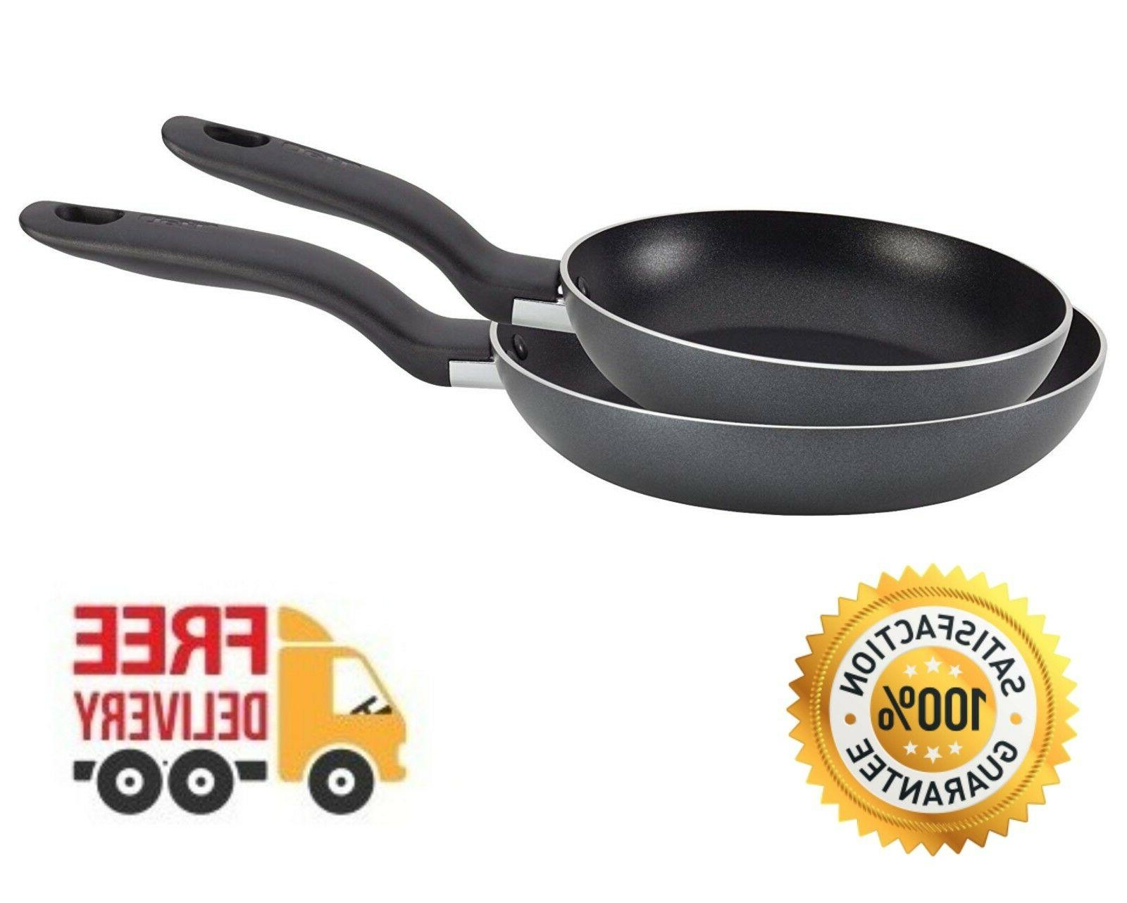 """T-fal Aluminum Pan Saute Set Stay Cool Handle 8"""" and 10"""" Fry"""