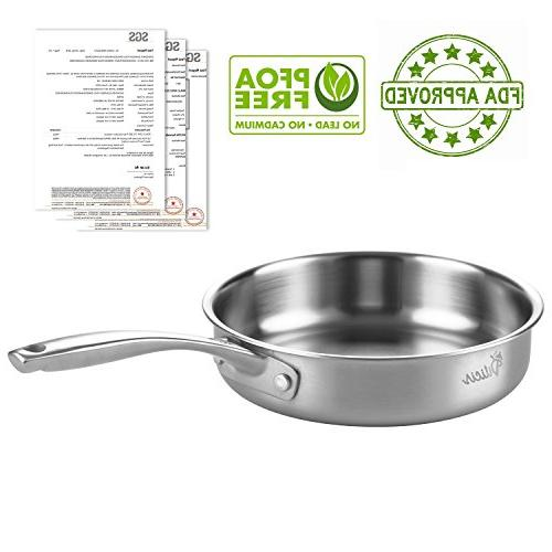 Tri-Ply Stainless Pan Cookware Nonstick Professional Kitchen Restaurant French Omelette 8-Inch and