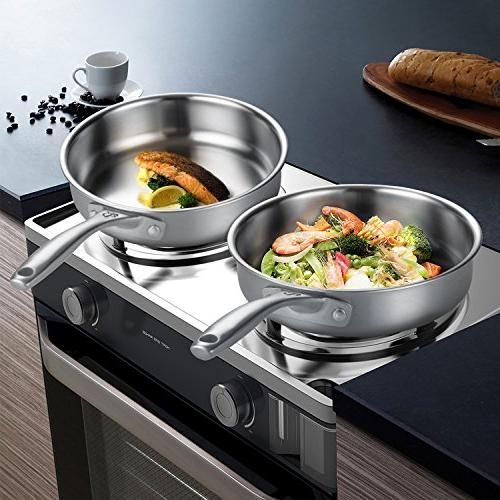 Tri-Ply Stainless Frying Pan Nonstick Kitchen Restaurant Omelette Dishwasher and 10-Inch,