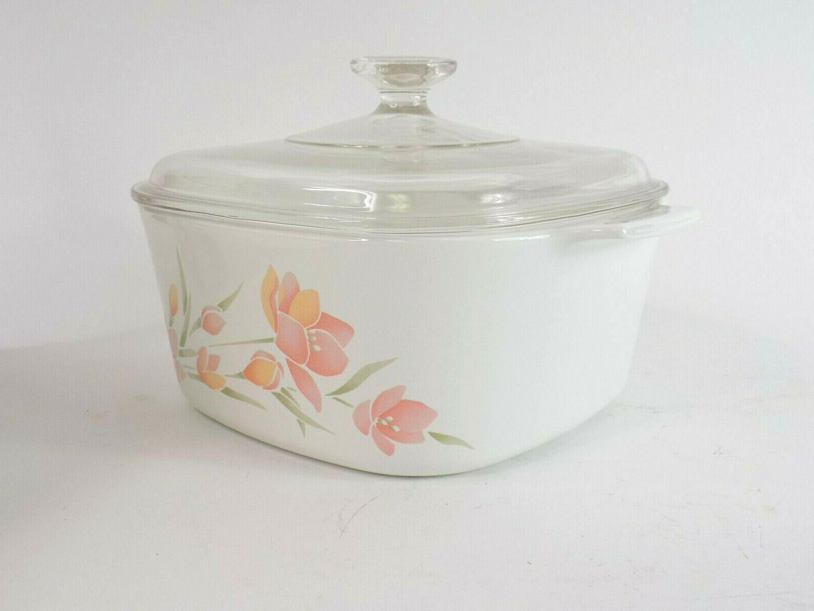 Vintage Corningware Casserole Peach Floral