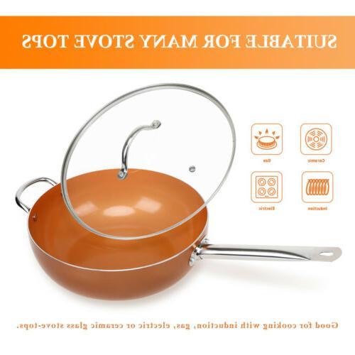 Wok 12 Nonstick Copper Round Saute Pan