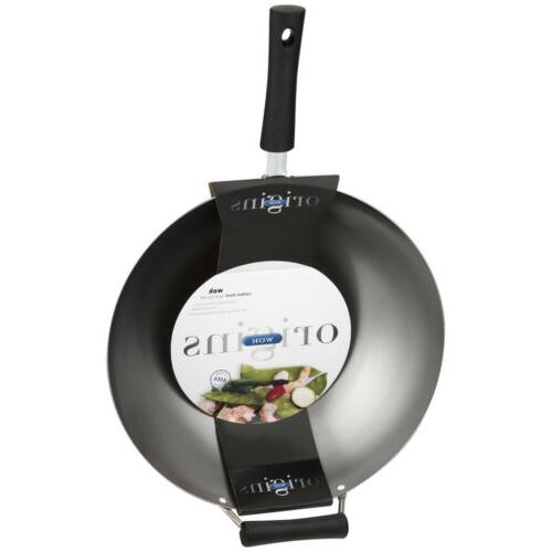 """WOK PAN COOKING 14"""" Frying Steam Sear Carbon Steel Cookware"""