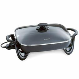 Large Deluxe Nonstick Electric Skillet Frying Fry Pan Buffet
