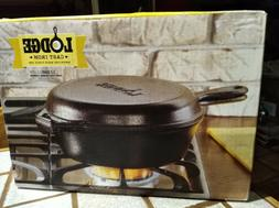 Lodge Cast Iron Combo Cooker Dutch Oven Skillet Griddle Fryi