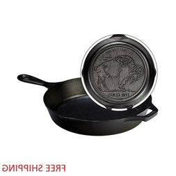 "Lodge Logic 10.25"" Cast Iron Buffalo Nickel Skillet"