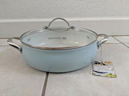 MASTERCLASS BLUE 11 IN BRAISER 4.2 QUART CERAMIC FRY PAN W/