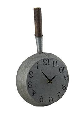 Zeckos Metal Wall Clocks Vintage Look Galvanized Finish Fryi