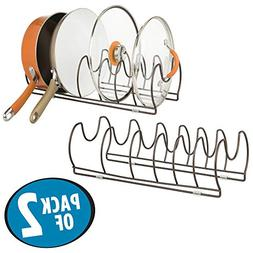 mDesign Metal Wire Pot/Pan Organizer Rack for Kitchen Cabine