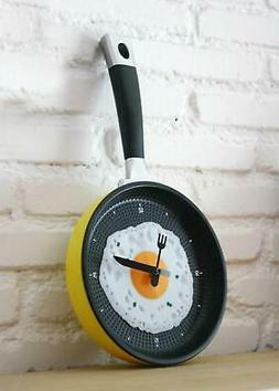 Modern Unique Frying Pan Clock Cutlery Kitchen Wall Clock Ho