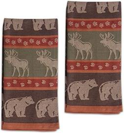 Moose and Bear Track Cotton Jacquard Kitchen Towel, Set of 2