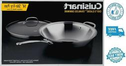 "New 14"" Premium Stainless Steel Chefs Frying Pan Stir Fry Co"