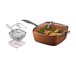 9.5 Inches Non-Stick Red Copper Square Pan Induction Chef Li