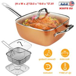 Non Stick Deep Frying Pan Glass Lid 4PC Chef Fry Steam Stove
