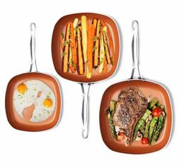 Gotham Steel 1682 Nonstick Copper Square Shallow Pan 3 Piece