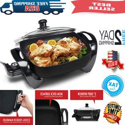 Nonstick Electric Skillet Frying Pan Fry Pan Tempered Glass