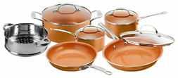 Gotham Steel 10-Piece Nonstick Frying Pan and Cookware Set -