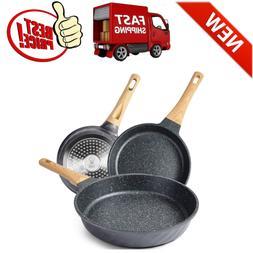 YIIFEEO Nonstick Frying Pan Set, Granite Skillet Set with 10