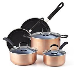 Cook N Home 02581 8-Piece Nonstick Heavy Gauge, Copper/Brown