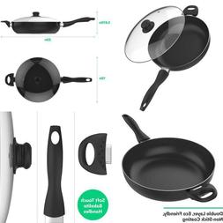 Vremi 12 Inch Nonstick Saute Pan Covered with Tempered Glass