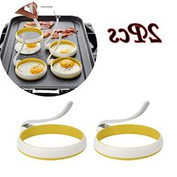 Longay 2PCS Nonstick Silicone Handle Round Egg Rings Shaper