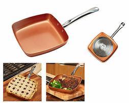 "NonStick Square Fry Pan 9.5"" Ceramic Frying Skillet Kitchen"
