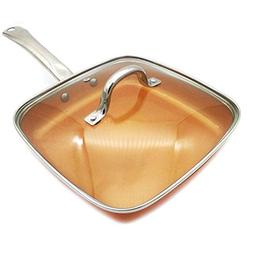 1PC, Copper Pans 24cm Nonstick Deep Square Induction Fry Pan