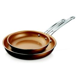 Piece Pan Set 2 Copper Fry Chef Non Stick Square Cookware St