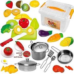 Play Fruits And Vegetables Pretend Food Playset For Kids Gre