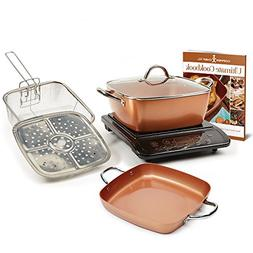 Copper Chef XL Plus Shallow Casserole Pan with Induction Coo