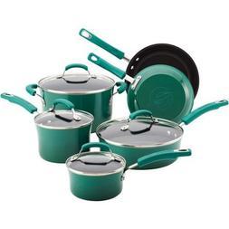 NEW Rachael Ray 10-piece Porcelain Enamel Cookware Set Nonst